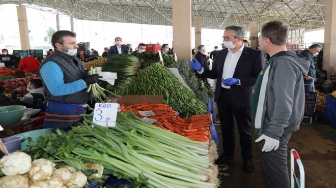 Gaziemir'in pazarlarında virüs seferberliği