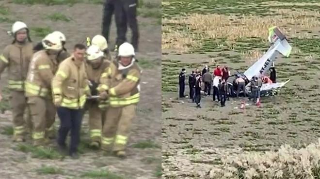 İstanbul'da eğitim uçağı düştü!